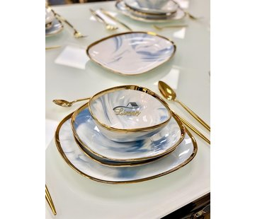 BRICARD PORCELAIN Bricard Porcelain Sens 6-Persoons   25-Delig Serviesset  Marbel Blauw