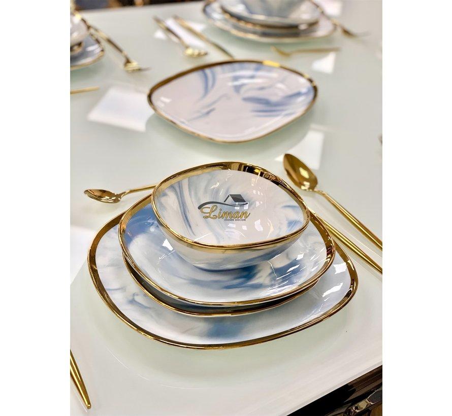 Bricard Porcelain Sens 6-Persoons   25-Delig Serviesset  Marbel Blauw