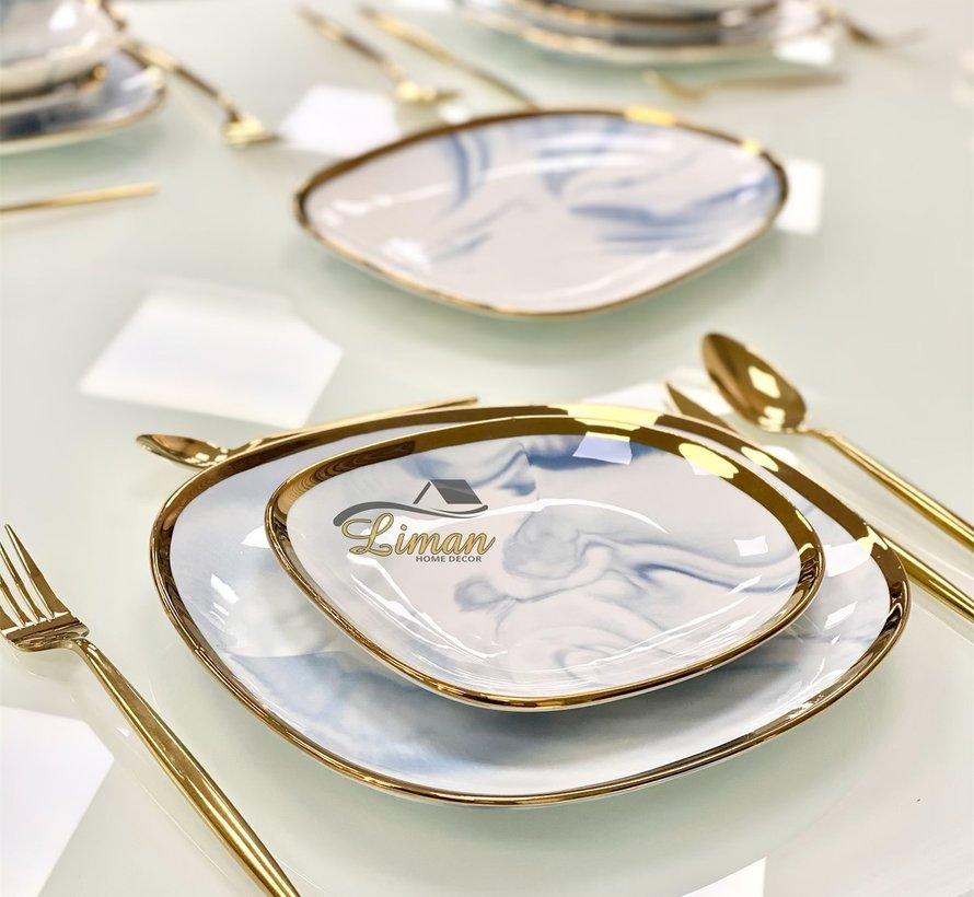 Bricard Porcelain Sens 6-Personen   25-Teilig Tafelservice Marble-Blau