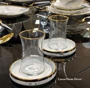 BRICARD PORCELAIN Bricard 12-teilig Teeglas Set Sens Marble-Grey