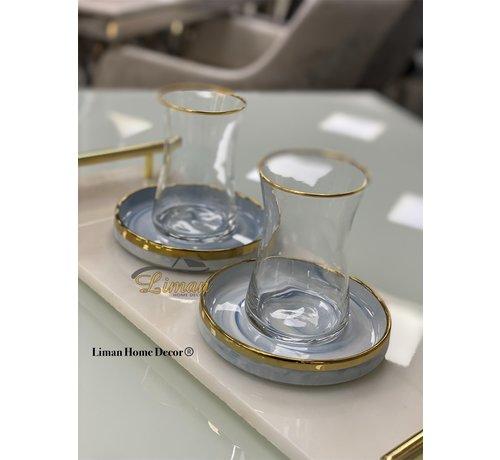 BRICARD PORCELAIN Bricard 12-teilig Teeglas Set Sense Marble-Blue