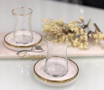 BRICARD PORCELAIN Bricard 12-teilig Teeglas Set Sense weiß / Gold