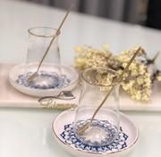 BRICARD PORCELAIN Bricard 18-teilig Teeglas Set Ottoman mit Teelöffel Blau