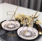 BRICARD PORCELAIN Bricard 18-teilig Teeglas Set Ottoman mit Teelöffel Schwarz