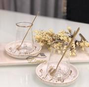 BRICARD PORCELAIN Bricard 18-teilig Teeglas Set Marbel Gold mit Teelöffel