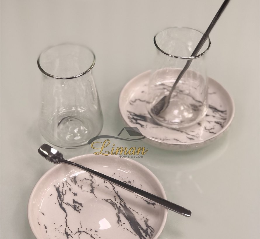 Bricard 18-teilig Teeglas Set Marbel Silber mit Teelöffel