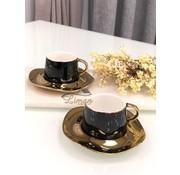 Wave Espresso/Mokkaset Zwart-Gold  12-Delig   6-Persoons