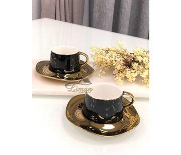 Wave Espresso/Mokkaset Zwart-Gold  12-Delig | 6-Persoons