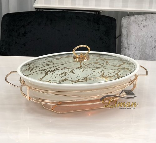 ACR ACR Stoneware Rozelly Ovaal Ovenschaal Met stand  38.1 Cm