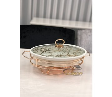 ACR ACR Stoneware Rozelly Ovaal Ovenschaal Met stand  30.5 Cm