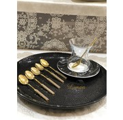 6 pieces stone decorated teaspoons Gold