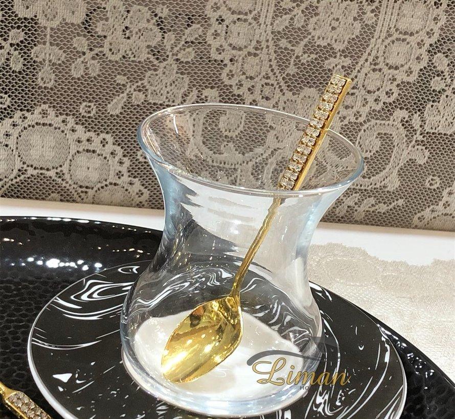 6 Stück steinverzierte Teelöffel Gold