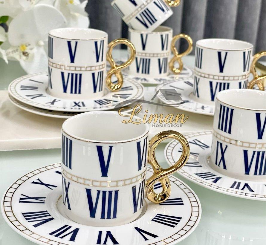 Acr Roma Espresso set 12-Delig | 6-Persoons  Blauw