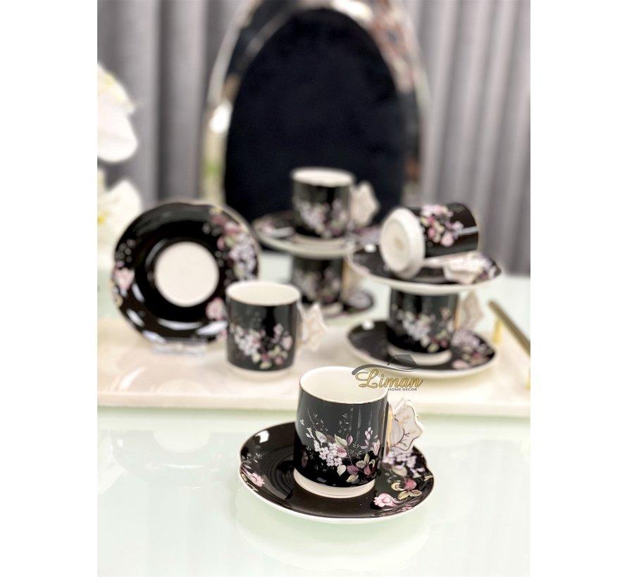 ACR lente Espresso set 12-Delig   6-Persoons Zwart