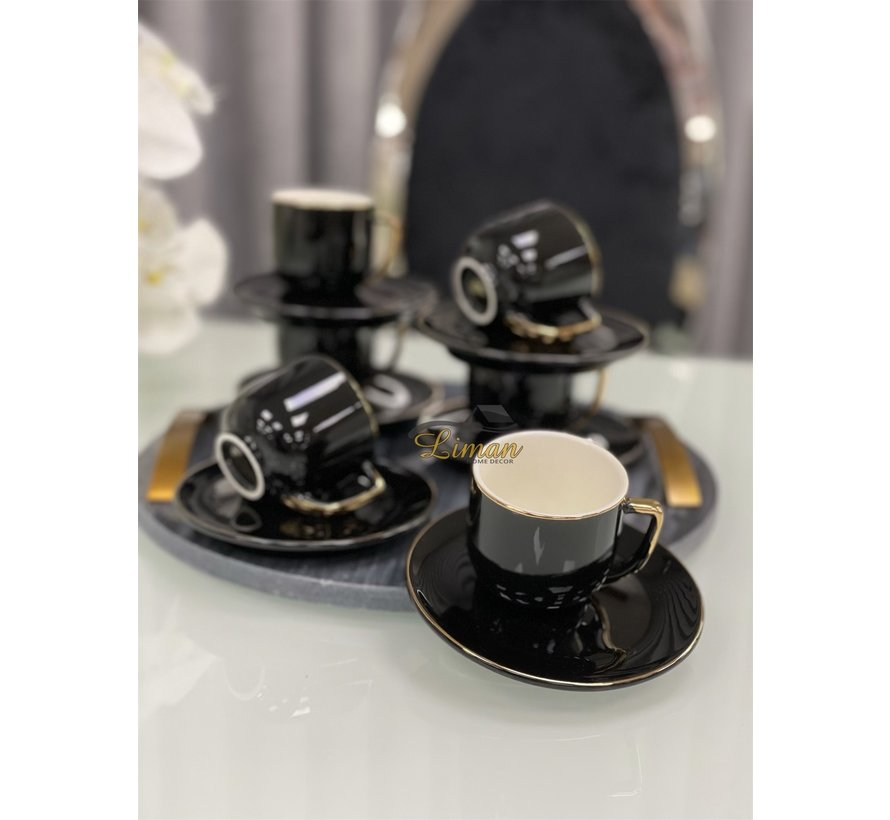 ACR Lisa 12 Delig Espressoset Zwart-Goud
