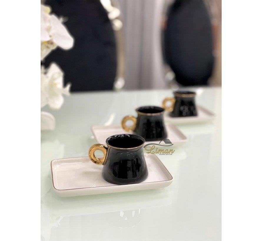 Acr Ring Espresso set 12-Delig   6-Persoons Zwart