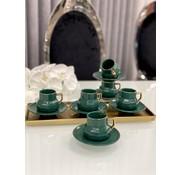 Acr Octagon Espresso set 12-Delig | 6-Persoons Groen