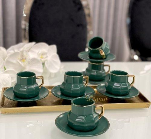 Acr Octagon Espresso set 12-Delig   6-Persoons Groen