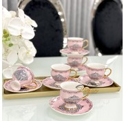 ACR ACR Ottomaans Espresso set Roze 12-Delig | 6-Persoons