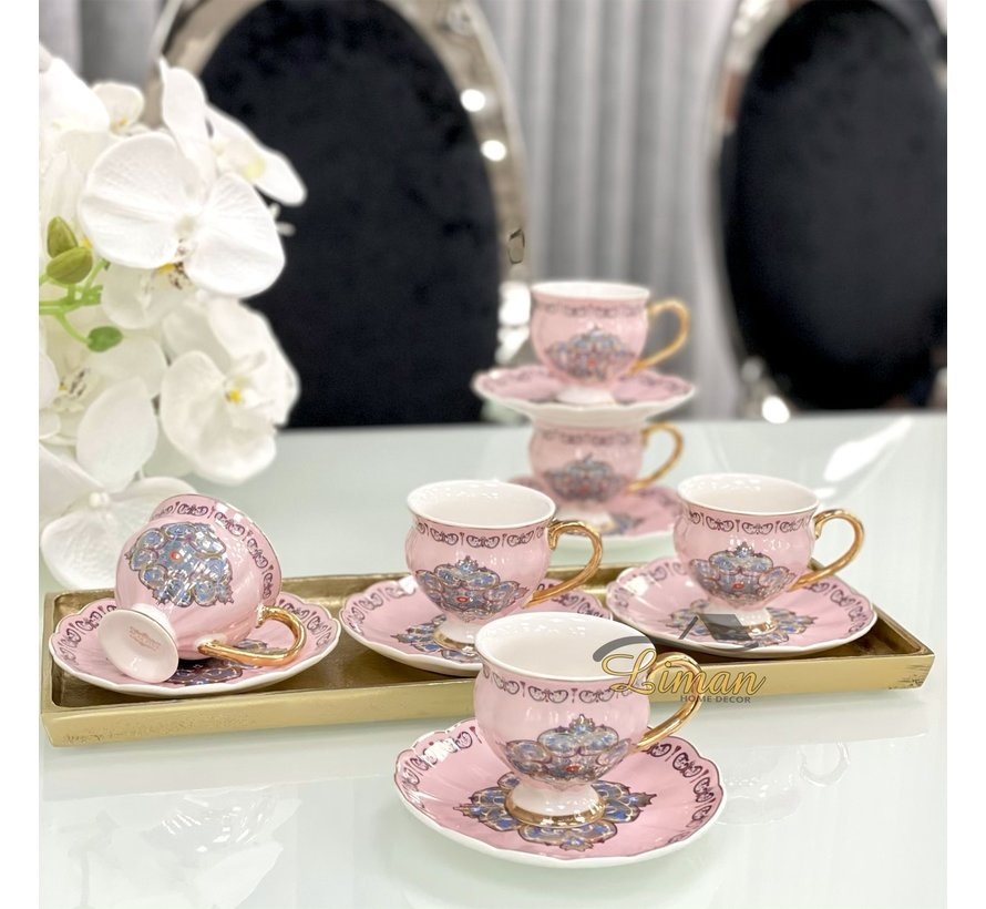 ACR Ottomaans Espresso set Roze 12-Delig   6-Persoons