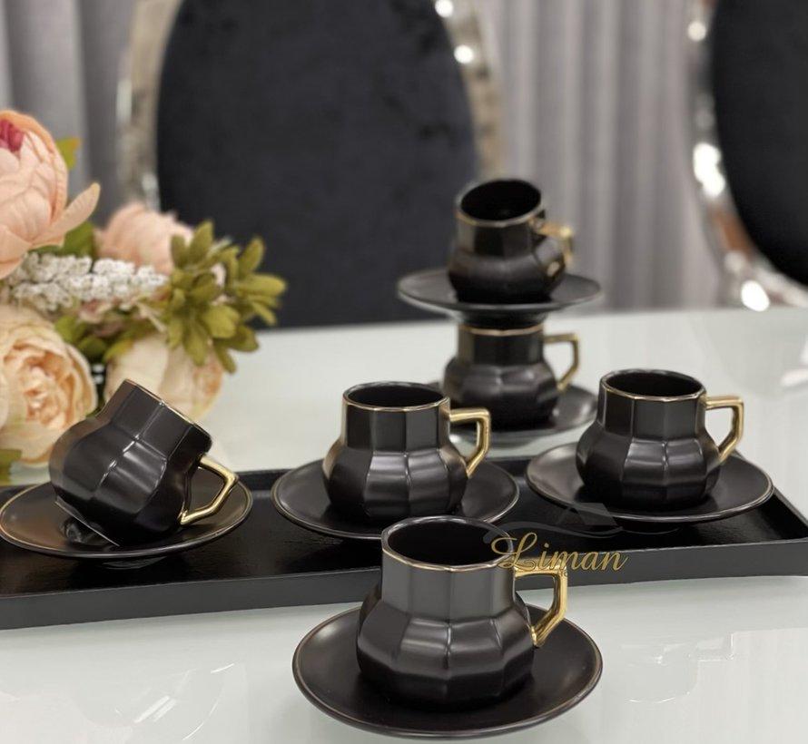 Acr Octagon Espresso set 12-Delig | 6-Persoons Zwart