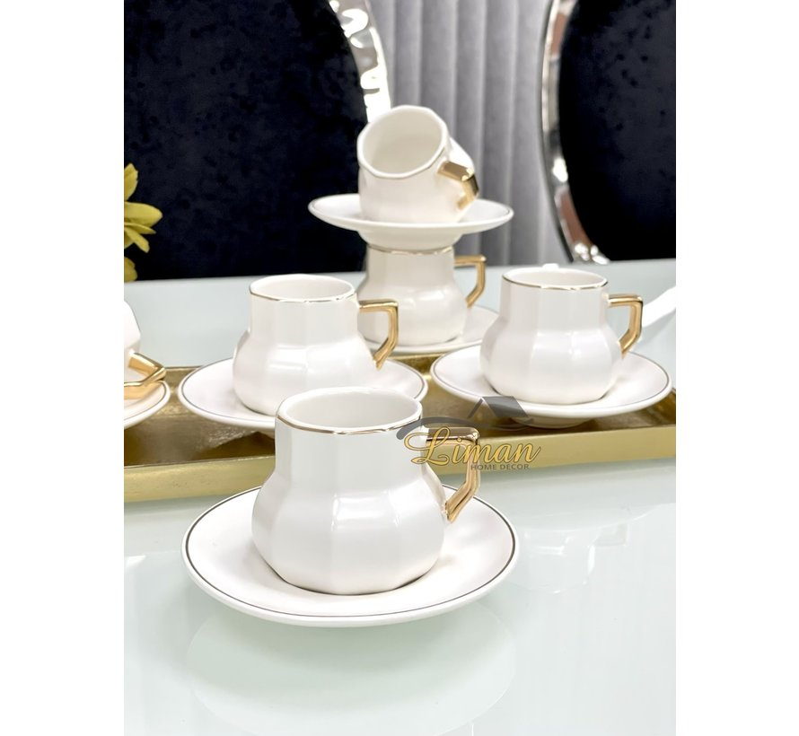 Acr Octagon Espresso set 12-Delig   6-Persoons Wit