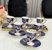 ACR ACR Lazer Mavi 6 kişilik Ayaklı Turk Kahvesi Seti