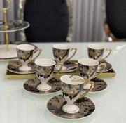 ACR ACR Lazer Siyah 6 Kişilik Ayaklı Turk Kahvesi Seti