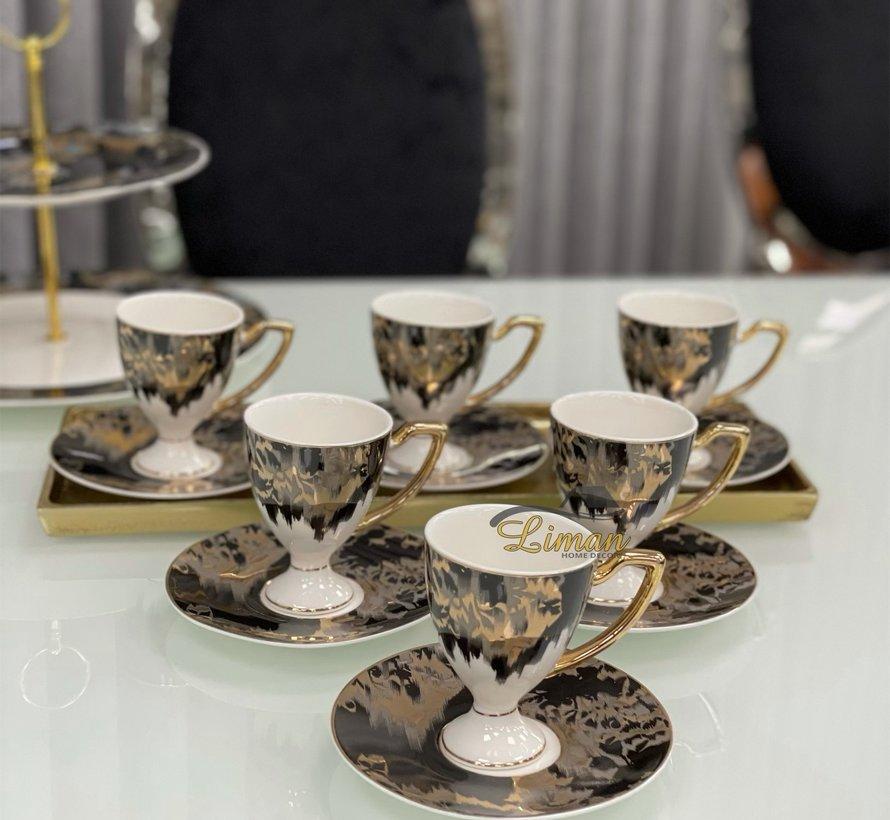 ACR Lazer Espresso set met Voet 12-Delig | 6-Persoons Zwart