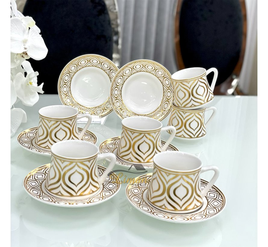 Bricard Ottomans Koffieset 12-Delig | 6-Persoons Goud