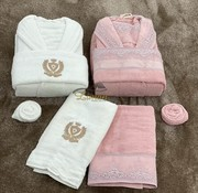 Miss Bella Miss Bella 8 - Delige Badjas set Creme / Roze