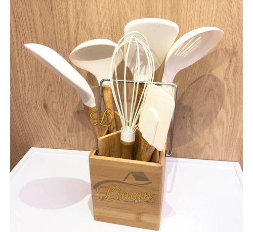 cinar Bamboe 6-delige keukengereiset wit