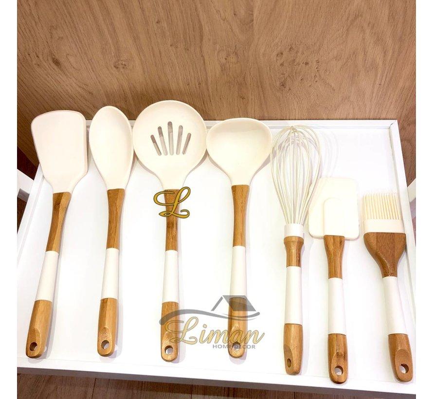 Bamboe 6-delige keukengereiset wit