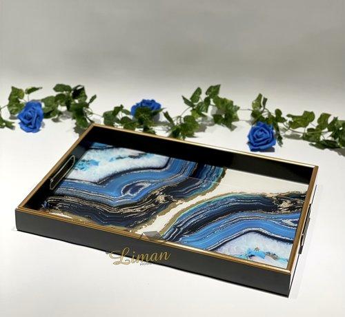 FUGURATO Fugurato Epoxy Style Zwart Blauw Marble Rechthoek Dienblad