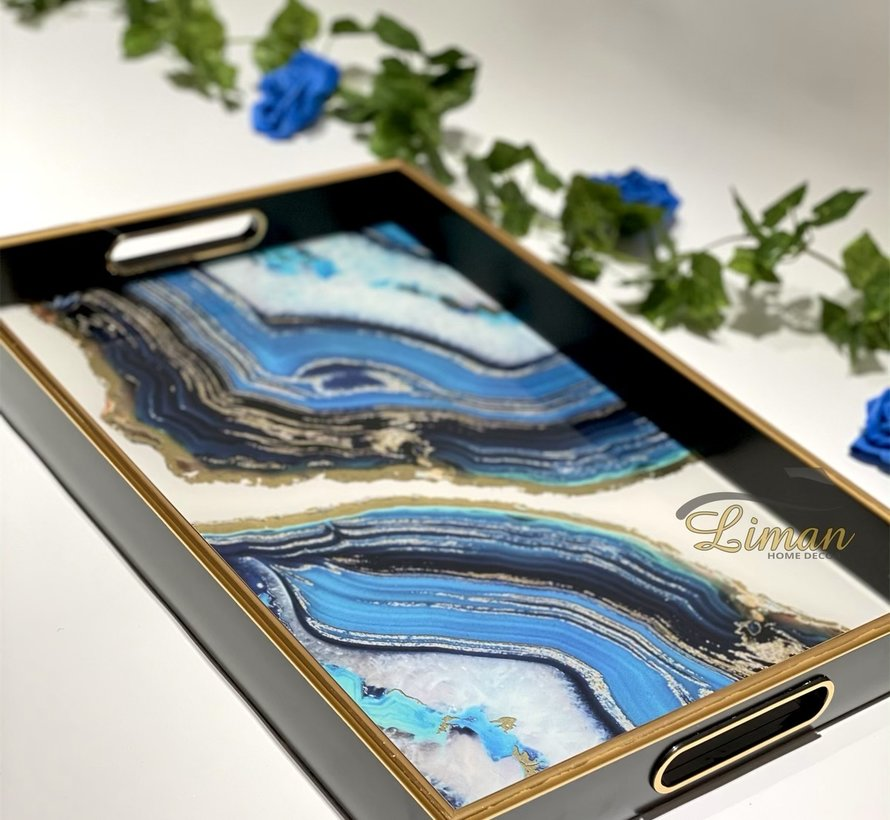 Fugurato Epoxy Style Zwart Blauw Marble Rechthoek Dienblad