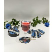 FUGURATO Fugurato Epoxy Style Blauw Marble Glas Onderzetter Met Stand 7 DLG