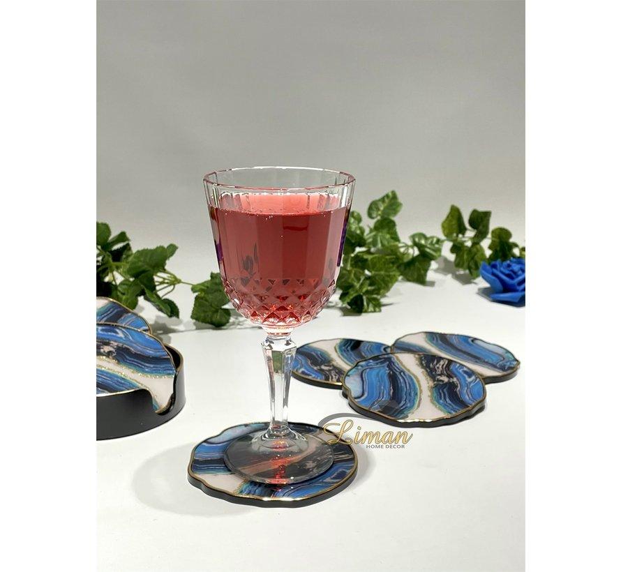 Fugurato Epoxy Style Blauw Marble Glas Onderzetter Met Stand 7 DLG