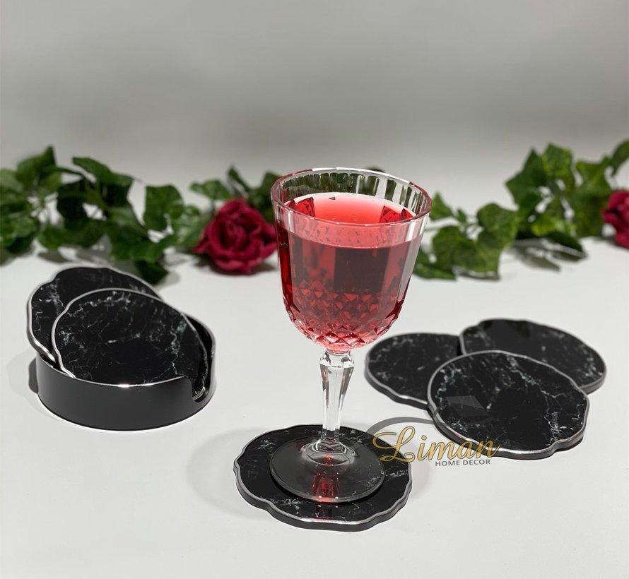 Fugurato Epoxy Style Zwart  Marmer Zilver Glas Onderzetter Met Stand 7 DLG