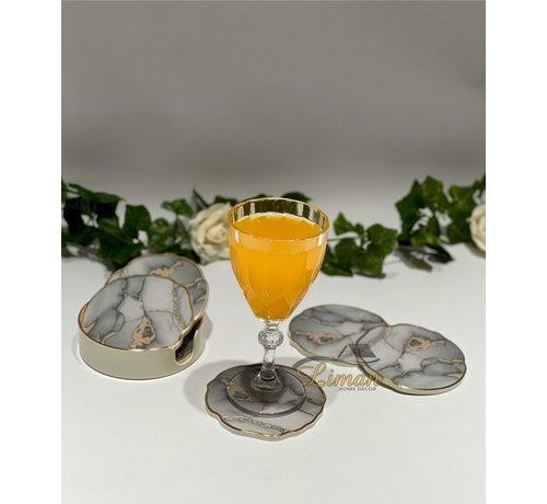 FUGURATO Fugurato Epoxy Style Marmer Glas Onderzetter Met Stand 7 DLG
