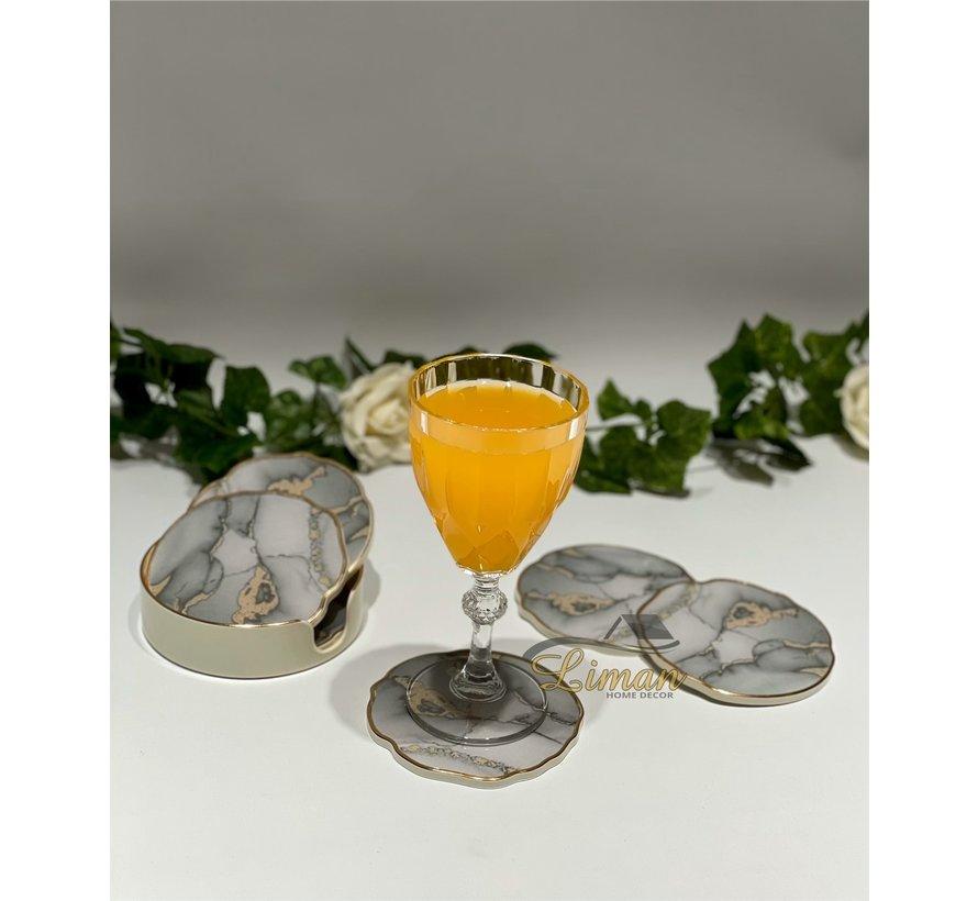 Fugurato Epoxy Style Marmer Glas Onderzetter Met Stand 7 DLG