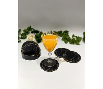 FUGURATO Fugurato Epoxy Style Zwart  Marmer Goud Glas Onderzetter Met Stand 7 DLG