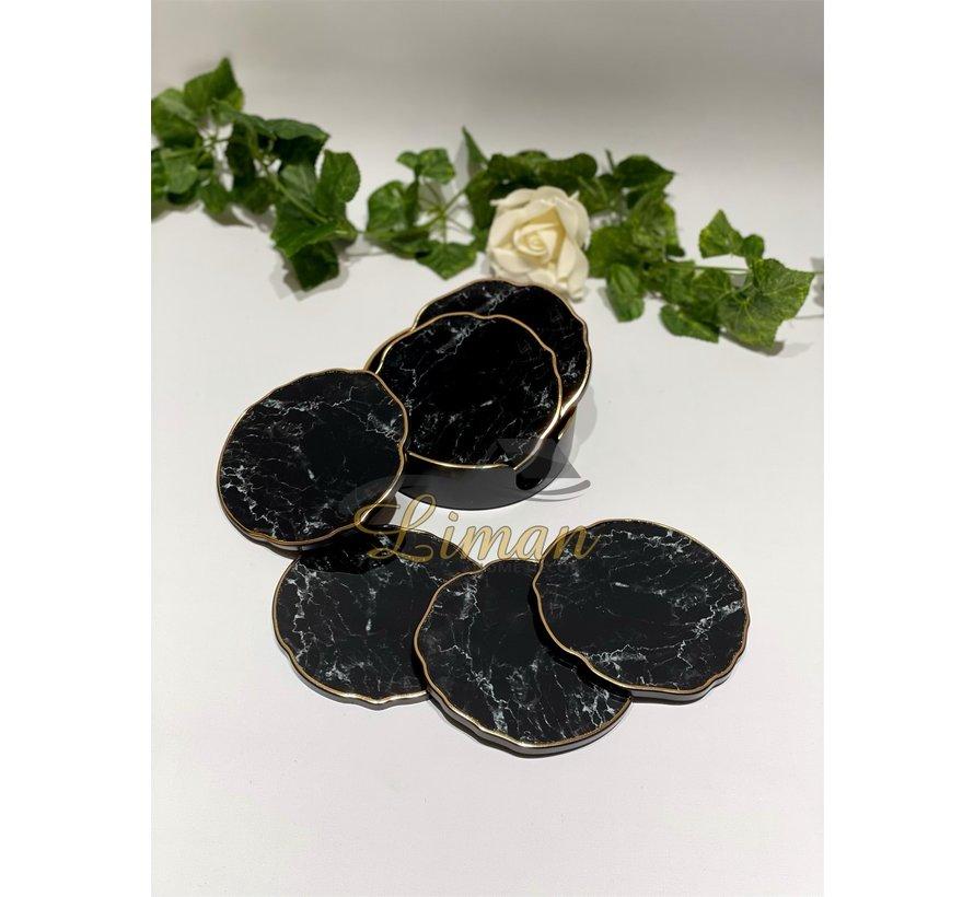 Fugurato Epoxy Style Zwart  Marmer Goud Glas Onderzetter Met Stand 7 DLG