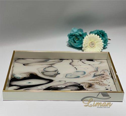 FUGURATO Fugurato Epoxy Style Rechthoek Wit Marble Dienblad 009