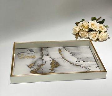 FUGURATO Fugurato Epoxy Style Rechthoek Wit Marble Dienblad 006