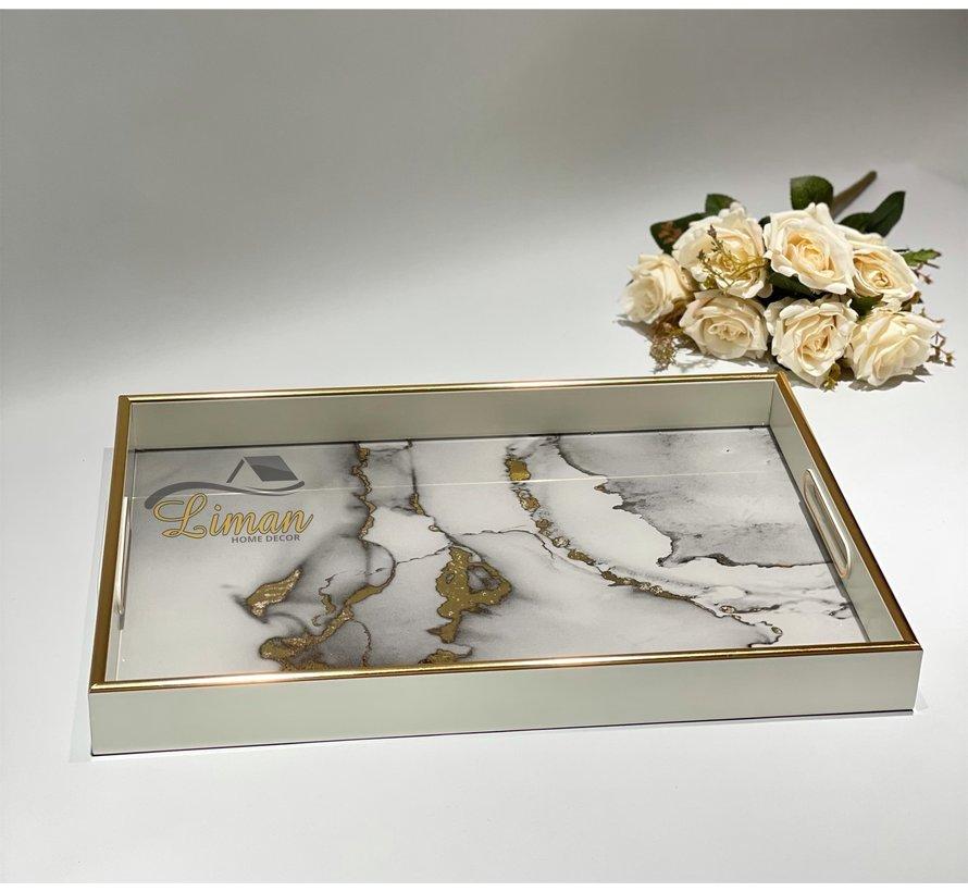 Fugurato Epoxy Style Rechthoek Wit Marble Dienblad 006