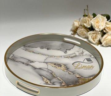 FUGURATO Fugurato Epoxy Style Ronde Dienblad Wit Marble 005