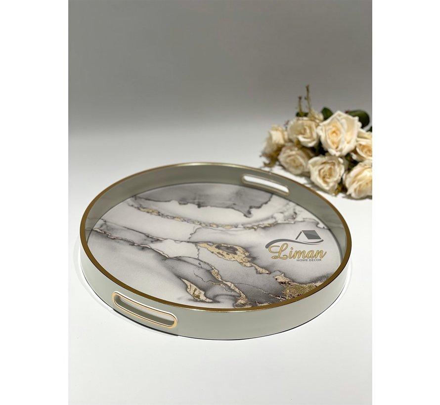 Fugurato Epoxy Style Ronde Dienblad Wit Marble 005