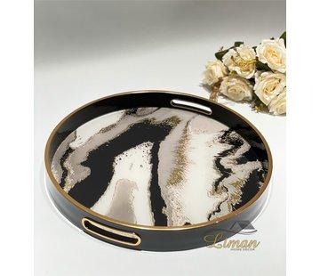 FUGURATO Fugurato Epoxy Style Ronde Dienblad  Zwart Marble 002
