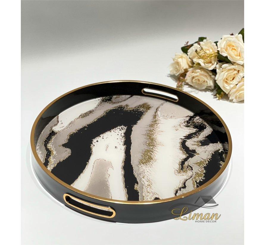 Fugurato Epoxy Style Ronde Dienblad  Zwart Marble 002