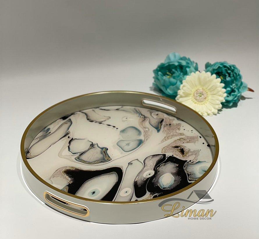 Fugurato Epoxy Style Ronde Dienblad Wit Marble 003